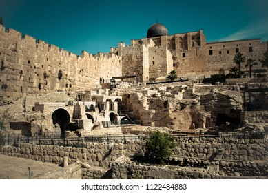 The ruins of the Ophel walls, the place where of first and second Temple complex was located. Jerusalem, Israel. Filtered image
