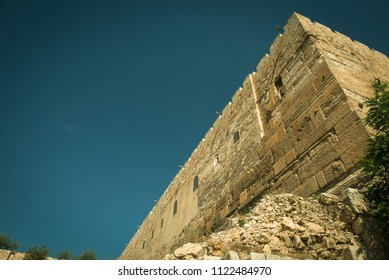 The ruins of the Ophel walls, the place where of first and second Temple complex was located. Jerusalem, Israel