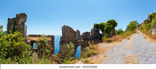 The ruins of the original settlement of Maratea on a rocky escarpment just below the Christ the Redeemer statue on San Biagio mountain