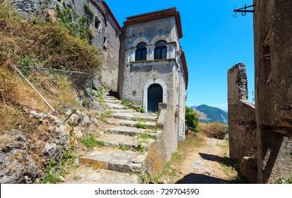 The ruins of the original settlement of Maratea on San Biagio mountain, Tyrrhenian sea coast, Basilicata, Italy.
