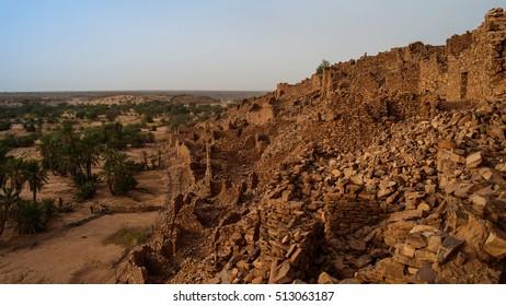 Ruins of Ouadane fortress in Sahara, Mauritania