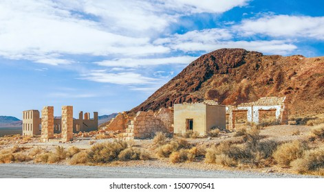 Ruins of the Overbury Building and Bishop Jewelry Store in Rhyolite ghost town. Nevada. USA
