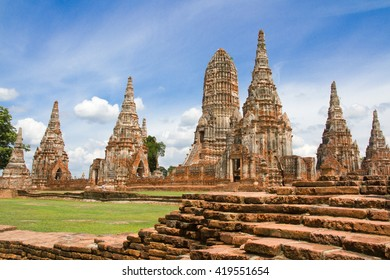 Ruins of pagodas in an ancient Buddhist temple.