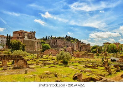 Ruins of Palatine hills in Rome, Italy