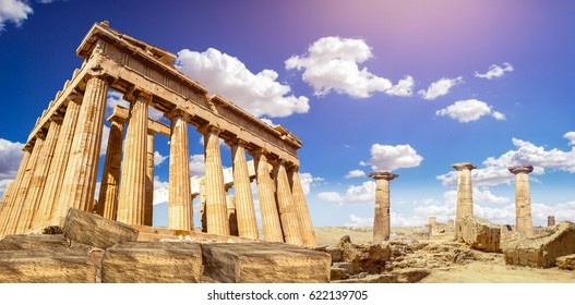 ruins of Parthenon temple of goddess Athena in Acropolis Athens, Greece