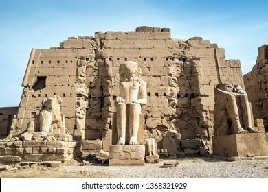Ruins of pharaohs statues at the Precinct of Mut, Karnak Temple, in the east bank of the Nile River, El-Karnak, Luxor, Egypt