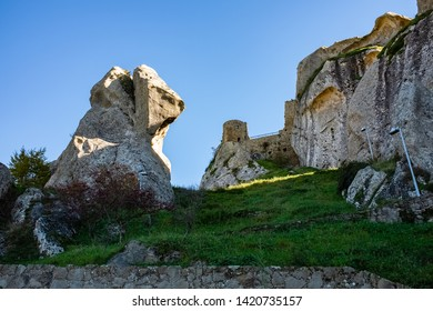 Ruins of Pietrapertosa castle. Dolomites of Basilicata mountains called Dolomiti Lucane. Basilicata region, Italy
