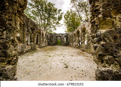 Ruins in Pigeon Island National Park in Saint Lucia
