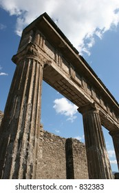 Ruins and pillars at Pompeii, Italy.  Dates back to 79AD.