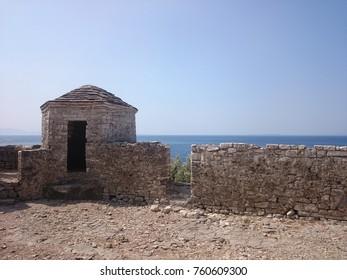 Ruins Of Porto Palermo Island Castle in Albania, Sea View.