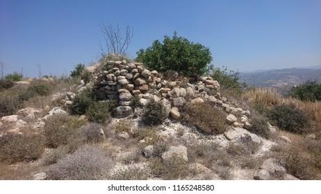 Ruins of Prophet Elijah church in Cyprus, Kritou terra district. Chapel of Prophitis Ilias mountain view.