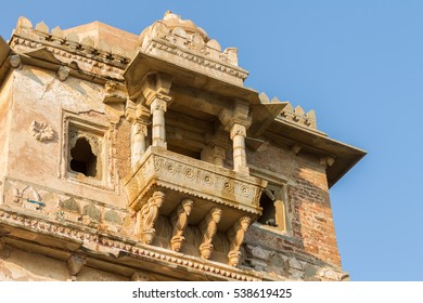 Ruins of Rana Kumbha Palace in the fort of Chittor. Chittorgarh (fortress of Chittor) is the largest fort in India and Asia. It is on the UNESCO World Heritage Site List as Hill Forts of Rajasthan.