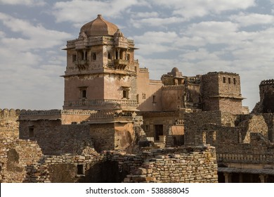 Ruins of Rana Kumbha Palace in the fort of Chittor. Chittorgarh (fortress of Chittor) is the largest fort in India & Asia. It is on UNESCO World Heritage Sites list as Hill Forts of Rajasthan. India.