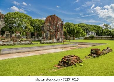 The ruins the reception hall for foreign ambassadors and dignitaries at King Narai's palace, Lopburi Province, Thailand.