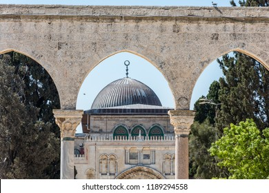 Ruins and remains of gates and Al-Aqsa Mosque  located in the Old City of Jerusalem, the third holiest site in Islam. built on top of the Temple Mount, known as Haram esh-Sharif in Islam.