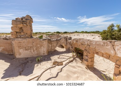 Ruins of the remote and isolated historic Eucla Telegraph Station overun by shifting sands at Eucla on the Nullabor Plain in Western Australia.