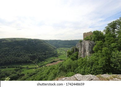 The ruins of Reussenstein Castle in the landscape of the Swabian Jura