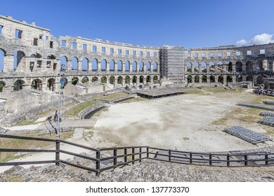Ruins of Roman amphitheater in Pula. It was constructed in 27 BC - 68 AD and is among the six largest surviving Roman arenas in the World. Pula Arena is best preserved ancient monument in Croatia.