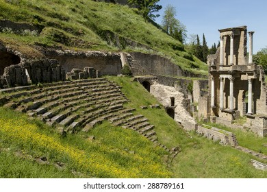 ruins of a Roman amphitheater in Volterra, Tuscany, Italy