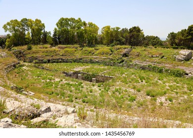 Ruins of the Roman Amphitheatre of Syracuse (Siracusa),  on the island of Sicily, Italy