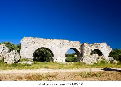 ruins of Roman aqueduct near Meunerie, Provence, France
