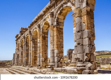 Ruins of the roman basilica of Volubilis, a UNESCO world heritage site near Meknes and Fez, Morocco