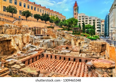Ruins of the Roman Baths of Berytus in Beirut, Lebanon
