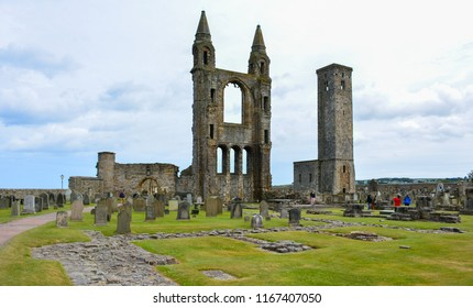 Ruins of Roman catholic St Andrews Cathedral in St Andrews, Fife, Scotland, with the St Rule's tower. The cathedral, once largest church in Scotland, was abandoned after the Scottish Reformation