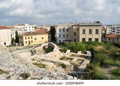 The ruins of the Roman Forum in Pula, Croatia