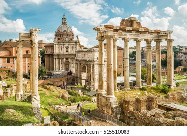 Ruins of the Roman Forum in summer, Rome, Italy. It is one of the main travel destinations in Italy. Beautiful scenic panorama of old Rome. Postcard of Italy. Ancient architecture of Rome.