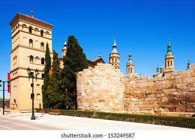 ruins of Roman Wall and Zuda Tower in summer. Zaragoza, Aragon
