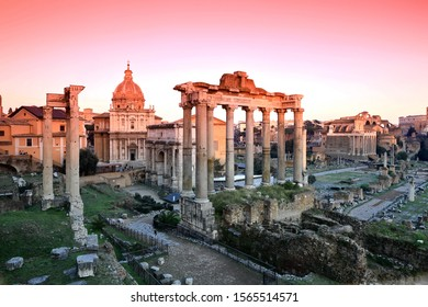 The Ruins of Roman's forum at sunrise, ancient government buildings , temple and shrine of old Roman empire
