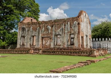 The ruins of royal chapel of King Narai in his palace at Lopburi Province, Thailand. King Narai ruled Ayutthaya Kingdom from 1656 to 1688