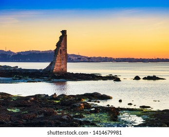 Ruins of Saint Sadurnino defensive tower against Viking invasions at the evening in Cambados town