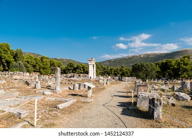 Ruins of the sanctuary of Asclepius at the ancient Epidaurys archeological site, Argolis, Greece