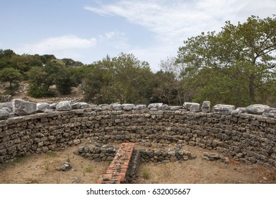 Ruins at the Sanctuary of the great gods in Palaeopolis at the island of Samothrace Greece. (ancient monument of Cabeiri)