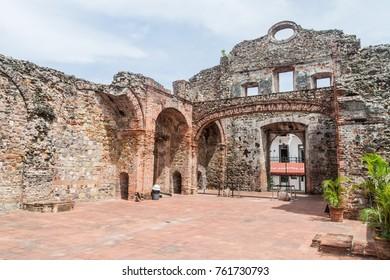 Ruins of Santo Domingo church in Casco Viejo (Historic Center) of Panama City