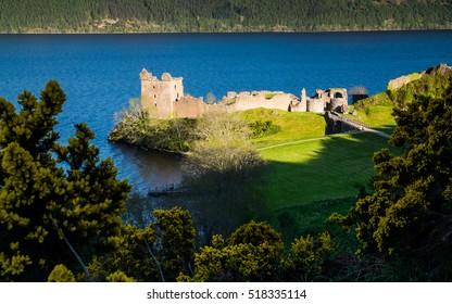 Ruins of Scotland Urquhart Castle near Loch Ness