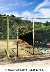 Ruins of a secret Japanese base where chemical weapons were manufactured during World War II on the island of Okunoshima with old ruined tennis court.