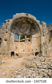 Ruins of the seventh century church of St. Nicholas (or Santa Claus) on Gemiler Island, Fethiye, Turkey, one of the two possible birthplaces of the saint.