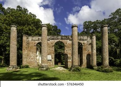 The ruins of Sheldon Church built in 1745 near Beaufort South Carolina.