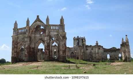 The ruins of Shettihalli Rosary Church, Hassan, Karnataka, India built by French missionaries in 1860s in scenic waterside spot.