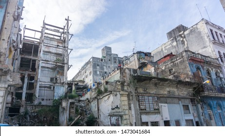 Ruins, showing the economic situation in the capital and turbulent past of the country. This cityscape is common in Havana and it's one of the reason why it's considered an authentic city to visit.