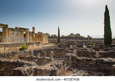The ruins  in the small town Capernaum on the coast of the lake of Galilee. According to the bible this is the place where Jesus lived.