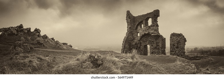 The ruins of St. Anthony's Chapel in Holyrood Park, Edinburgh, Scotland, UK.