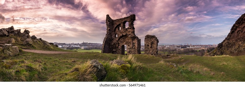 The ruins of St. Anthony's Chapel at sunset in Holyrood Park, Edinburgh, Scotland, UK.