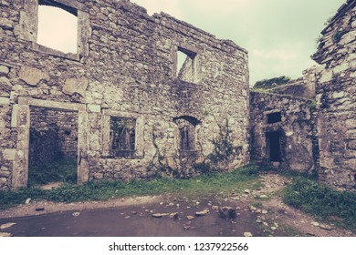 The ruins of the St John fortress which is located above Kotor town and bay, Montenegro