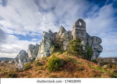 Ruins of St Michaels Chapel on the granite outcrop known as Roche Rock mid Cornwall England UK Europe