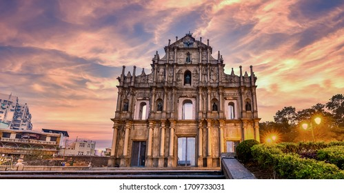 Ruins of St. Paul's, Cathedral ancient antique architecture in Macau landmark, Beautiful historic building of Macau, UNESCO World Heritage Site, Macau, China, Asian, Asia.