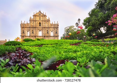 Ruins of St. Paul's Church in Macau, selective focus idea